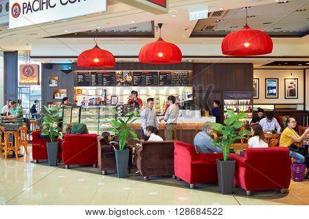 HONG KONG, CHINA - JUNE 18, 2015: Pacific Coffee cafe interior. Pacific Coffee Company is a Pacific Northwest U.S.- style coffee shop group originating from Hong Kong.