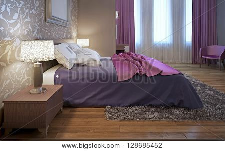 Master bedroom in avantgarde style. Purple and pink color in interior. Wool gray carpet. 3D render