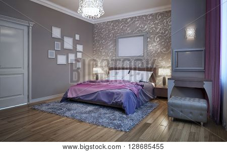 Guests bedroom in private house. Fusion in interior decoration of wall. 3D render