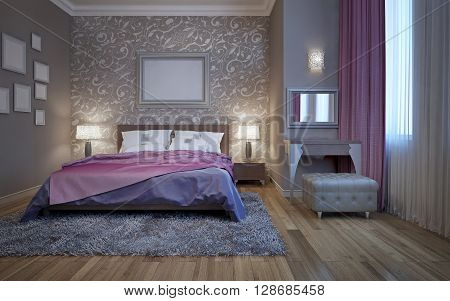 Hotel bedroom with dressing table. 3D render