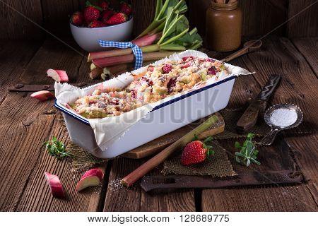 a fresh and tasty rhubarb strawberry brioches