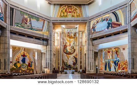 CRACOW, POLAND - APRIL 29 2016: Interior of the main upper church in the Pope John Paul II Sanctuary in Krakow Poland decorated with mosaics