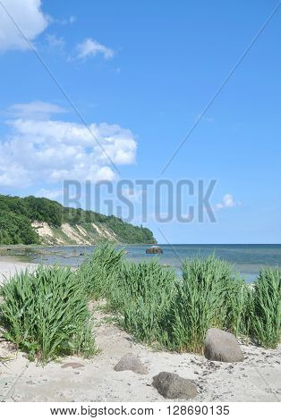 Beach and View to Kap Nordperd in Goehren on Ruegen Island at baltic Sea,Mecklenburg western Pomerania,Germany