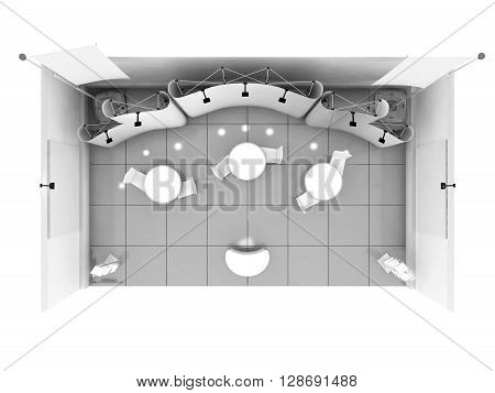 Blank trade show booth mock up. 3D illustration
