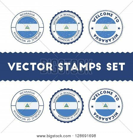 Nicaraguan Flag Rubber Stamps Set. National Flags Grunge Stamps. Country Round Badges Collection.