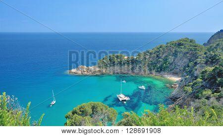 Coastal Landscape at Costa Brava near Tossa de Mar,Catalonia,Spain