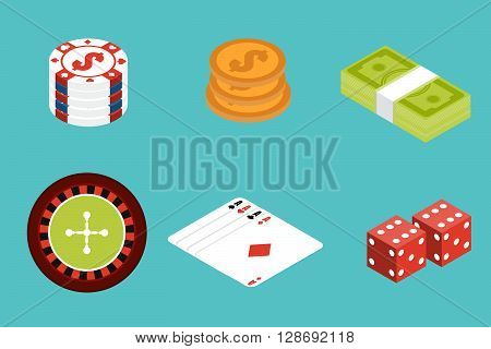 Gambling isometric icon set. Gambling Assets. Stock vector. Vector illustration.