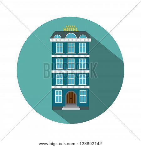 hotel icon flat style. Stock vector. Vector illustration.