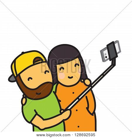 Cartoon couple making photo using smartphone and selfie stick vector