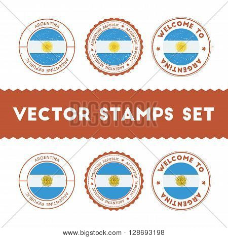 Argentinean Flag Rubber Stamps Set. National Flags Grunge Stamps. Country Round Badges Collection.