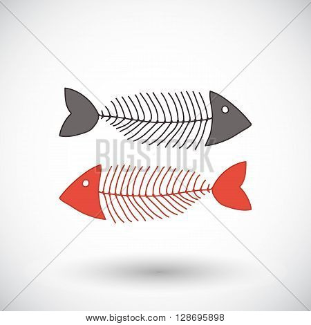 Fishbone sketch. Hand-drawn fishing or coocking icon. Doodle drawing. Vector illustration