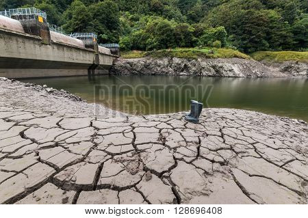 Very low water levels in this hydro dam lake.