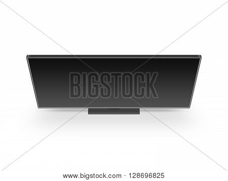 TV flat screen lcd, plasma realistic illustration, tv mock up. Black HD monitor mockup. Modern multimedia panel black screen mock-up. Top view of flat display tv set. Telly from above.