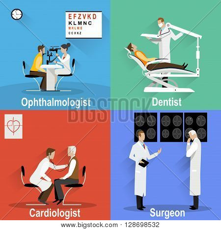 Four themed pictures on the topic of medical and health care. Vector flat illustration