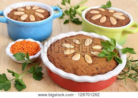 Pate with poultry meat and vegetables in casserole.