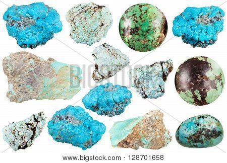 Set Of Various Turquoise Natural Gemstones
