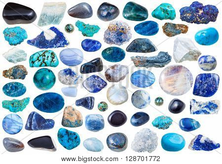 Set Of Blue Mineral Stones And Gems Isolated