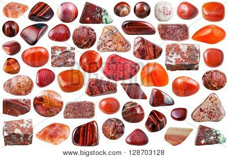 Set Of Red Mineral Stones And Gemstones