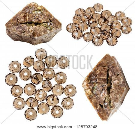 Set Of Zircon Crystals And Beads Isolated