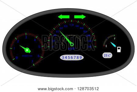 Car dashboard indicators. Dashboard icon and car dashboard speedometer and computer dashboard acceleration measurement and speedometer panel. Vector flat design illustration