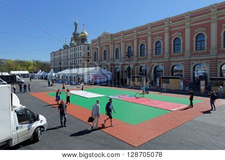 ST. PETERSBURG, RUSSIA - MAY 5, 2016: Installation of the fan zone of Ice Hockey World Championship. Moscow and St. Petersburg host 80th Ice Hockey World Championship