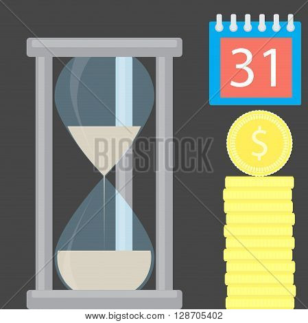 Money is time. Hourglass and golden coin stock. Finance money gold and money with hourglass business concept. Wealth is time and success financial golden banking. Vector flat design illustration