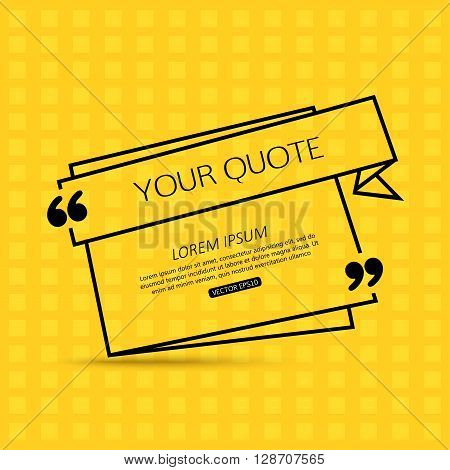 Quote template for social networking, business, newspaper, magazine and advertising action. Quote Bubble template. Quote Form. Quote Marks. Print Design. Quote Blank template. Short Quote. Chat Quote