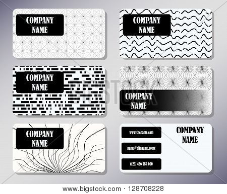 Set of business cards with a simple concise design. Front page and back page.