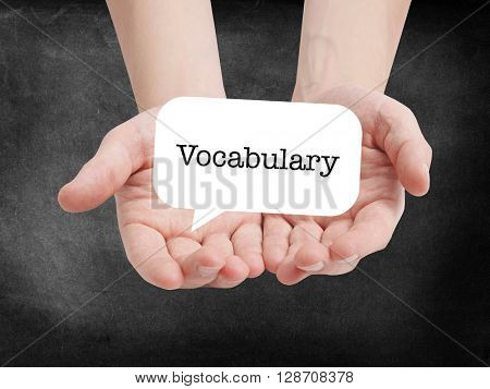 Vocabulary written on a speechbubble