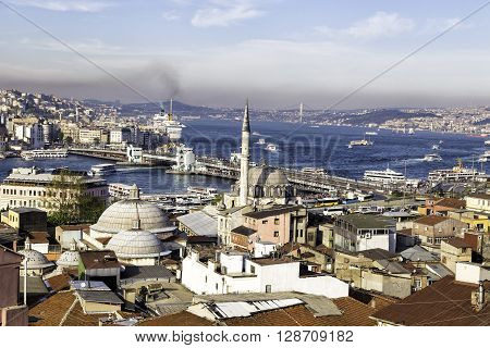 ISTANBUL TURKEY - SEPTEMBER 17 2015: New mosque Yeni Cami with Galata and Bosphorus bridge near Golden Horn background view in Eminonu Istanbul