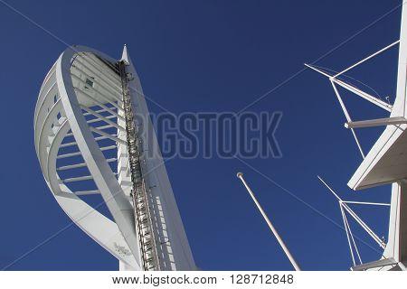 GUNWHARF KEYS ENGLAND - MARCH 16 2016: Spinnaker Tower against blue sky