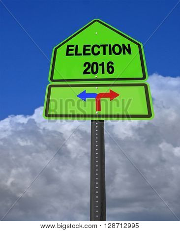 conceptual sign election 2016 left or right over dramatic  blue sky, 3D rendering