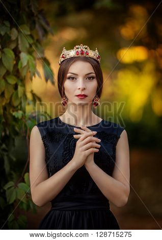 Beautiful woman model with professional makeup in jewelry crown ** Note: Visible grain at 100%, best at smaller sizes