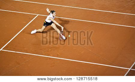 CLUJ-NAPOCA, ROMANIA - APRIL 7, 2016: Germany plays Romania during a Fed Cup Women double tennis match in the World Cup Play-Offs