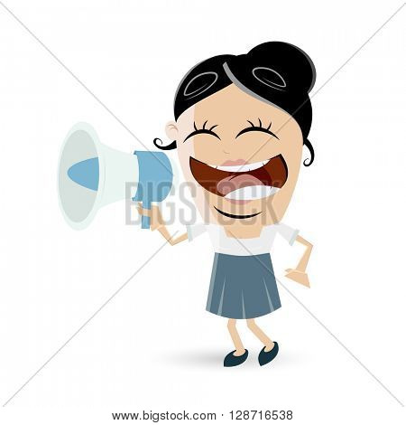 funny businesswoman with megaphone