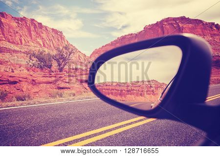 Vintage Stylized Car Wing Mirror, Travel Concept.