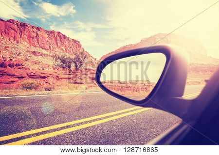 Vintage Stylized Car Wing Mirror With Lens Flare Effect.