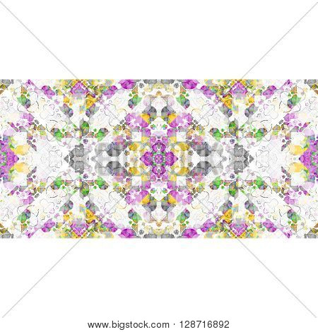 White Background With Geometric Ornate Stripes Borders