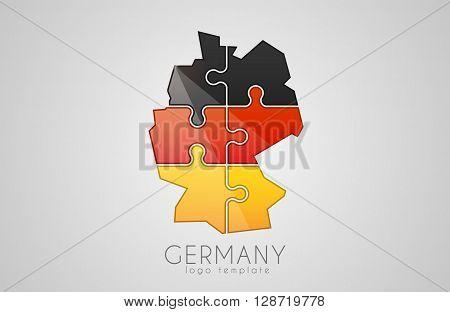 Germany logo. Puzzle Germany logo design. Creative Germany