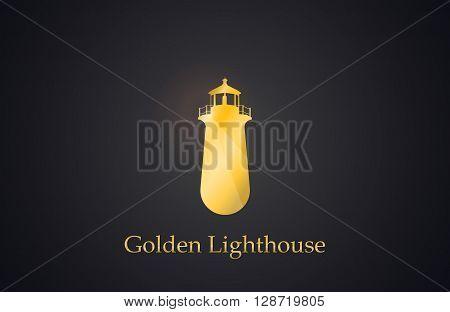 Lighthouse. Golden Lighthouse logo. Creative logo design. Elegant logo