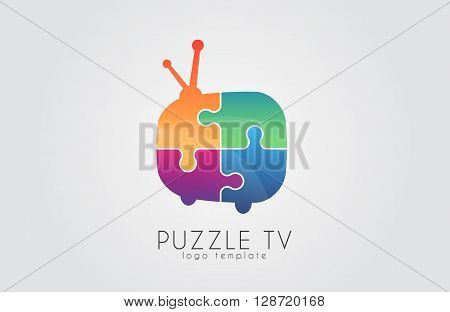 Puzzle tv logo. puzzle tv-set. color tv logo. television logo design