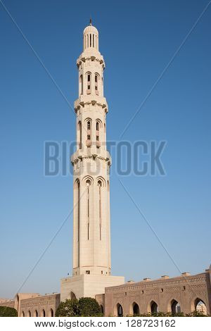 The main minaret at Sultan Qaboos Grand Mosque in Muscat the main mosque of The Sultanate of Oman.