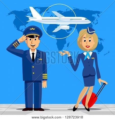 Pilot and stewardess in uniform on blue background with world map and airplane. Vector illustration.