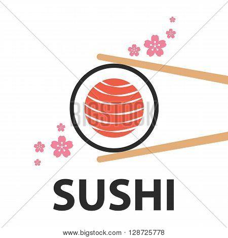 chopsticks holding salmon sushi roll with sakura flower symbol icon similar map of japan isolated on white background. Modern flat style. Vector illustration Logo template design. Japan food concept
