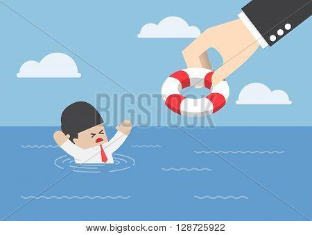 Drowning Businessman Getting Lifebuoy From Big Hand