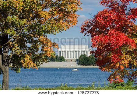 Washington DC in Autumn - Lincoln Memorial among fall trees and Potomac River