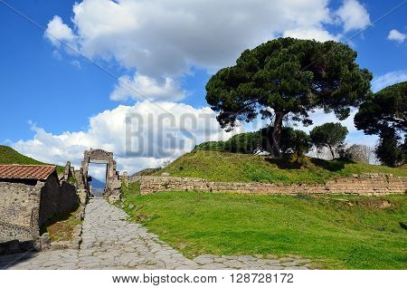 old gate in the pompei city excavation italy