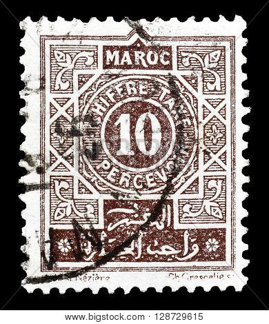 FRENCH MOROCCO - CIRCA 1915 : Cancelled postage stamp printed by French Morocco, that shows Numeral of value.