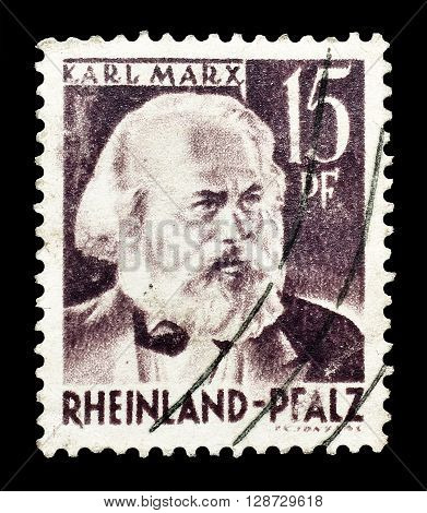 GERMANY - CIRCA 1947 : Cancelled postage stamp printed by Germany, that shows Karl Marx.