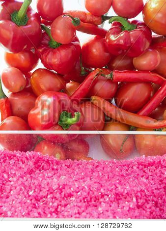 red natural color of bioplastic from vegetable